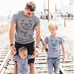 Wholesale Mother Son Clothes - Mother and Daughter Clothes Family Tshirt Father Son Matching T Shirt Fashion Bear Print Summer T-shirt