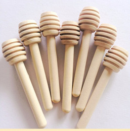 Wholesale wholesale jars spoon - 8cm long Mini Wooden Honey Stick Dipper Party Supply Wood Honey Spoon Stick for Honey Jar Stick
