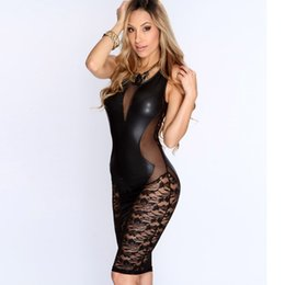 Wholesale Sexy Mesh Club Dresses - 2017 New Sexy Fashion Women Dress Black Faux Leather Floral Lace Mesh Little Black Club Dress 21643