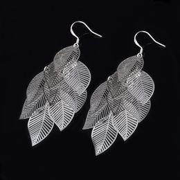 Wholesale New Designs Vintage Jewelry - Silver New Design Style Fashion Filigree Charm Elegant Simple Vintage Big Hollow Maple Leaf Earrings Drop Jewelry Women