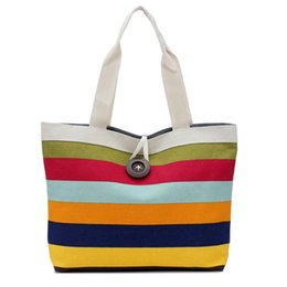 Wholesale Colored Zipper Bags - Wholesale- Hight Quality Lady Colored Stripes Shopping Handbag Shoulder Canvas Bag Tote Purse Free Shipping Dropshipping Aug 16