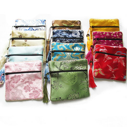 Wholesale Small Silk Jewelry Bags - Wholesale- 10 PCS Mix Colors Small Flower Tassel Silk Square Coin Bags Chinese Zipper Coin Purse Jewelry Pouches