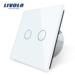 Wholesale Glass Gang - Livolo White Crystal Glass Switch Panel, EU Standard, 2 Gang 1 Way Switch, VL-C702-11 12 13 15