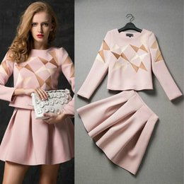Wholesale geometric skirts - New Style Women Spring & Autumn Dress Suit Set Skirt and Crop Top Female 2 Piece Set