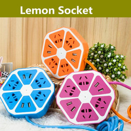 Wholesale Multi Purpose Remote - Lemon Design Extension Power Socket With 4 USB Ports Remote Socket for IOS Android Smart Multi-purpose Smart Power Strip USB Charger