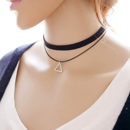 Wholesale Simple Short Necklace Pendant - 3 Pcs Steampunk 2 Layered Triangle Circular Rhombus Pendant Necklace For Women Simple Black Short Chocker Necklaces Bijoux