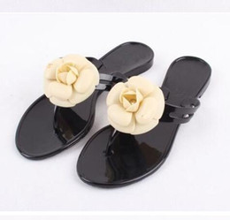 Wholesale Summer Beach Flip Flops - Wholesale-2017 summer women's floral slippers female's flip flops flowers slippers pvc sandals Camellia Jelly Shoes beach shoes