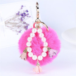 Wholesale Cartoon Handmade Keychain - Women's Girl's Fur Ball Fluffy Ball with Pearl Strip Handmade Cloth Art Flowers Metal Keychain Keyring Car Key Chains Handbag Charms Gift
