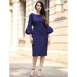 Wholesale Out Step - Women Dresses Summer Party Flare Bell Sleeve Dresses Solid One Step Pencil Dress Package Hip Slim Women Clothing