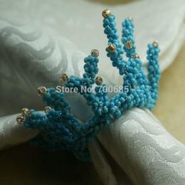 Titolari di anelli di tovagliolo blu online-All'ingrosso- blu portatovaglioli di corallo, perline portatovaglioli decorazione matrimonio