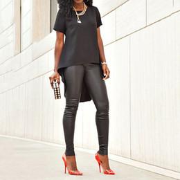 Wholesale Dovetail Shirts - Wholesale-2016 Women Summer Casual Short Sleeve O-Neck Black Dovetail Chiffon T-Shirt Tee Irregular Hem Swallowtail Slim Tops Streetwear