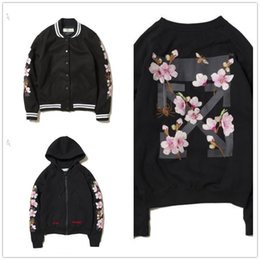 Wholesale New Hip Hop Clothes Woman - OFF WHITE 2017 New Hoodie Sweatshirt Brand Clothes Stripes Print Hip Hop embroidery Sweat shirt Men and women section