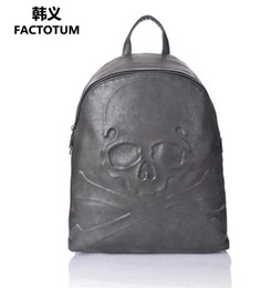 Wholesale Hard Shell Cooler - Factory direct male pack Cool Skull Man backpack premium leather embossed ghost backpack backpack brand premium leather fashion