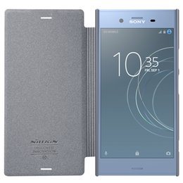 Wholesale Xperia Flip Case - case for Sony Xperia XZ1 Nillkin Sparkle flip cover PU leather case for Sony Xperia XZ1 5.2 inch with Retail Package