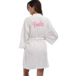 Wholesale Embroider Robe - Wholesale- Waffle Weave Embroidered Bridesmaid Bride Robes Women Wedding Party Kimono Robes Nightgown Sleepwear Dress Woman Solid Bathrobe