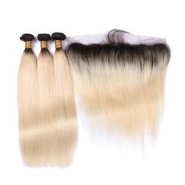 Wholesale Hair Closure Only - 1B 613 Blonde Virgin Hair With Frontal Ear To Ear 13*4 Full Lace Frontal Closure With Bundles 3 Pcs Straight Lace Frontal Weaves