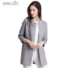 Wholesale Open Collar Long Sleeves Sweater - Wholesale-Autumn Winter 2016 New Brand Cashmere Blend Stand Collar Open Stitch Three Quarter Sleeve Cardigan Sweater Coat Outwear Clothing