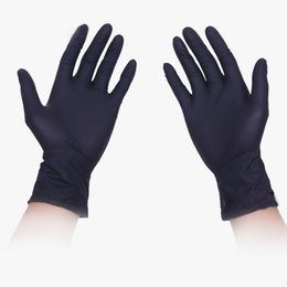 Wholesale Disposable Rubber Glove - Disposable gloves anti-acid and alkali beauty salons tattoo gloves black rubber nitrile