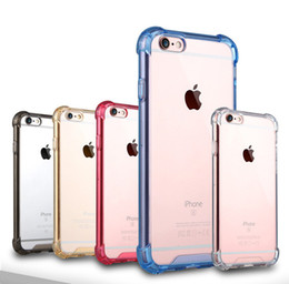 Wholesale Materials For Mobile - Transparent Air Cushion Shockproof Design PC and TPU Material Mobile Air Bag Anti-knock Cases Crystal Clear Silicone For Iphone 7 7Plus