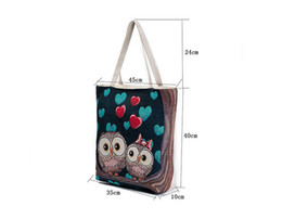 Wholesale nylon shoulder shopping bag - Cute Owl Large Canvas Shopping Tote Bag Big Shoulder Bags for Woman Bag Summer Beach Handbag Women Messenger Fashion