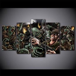 Wholesale Zombie Posters - 5Pcs Set Framed HD Printed Zombie Comics Painting on canvas room decoration print poster picture canvas Free shipping ny-1992
