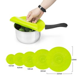 Wholesale Fresh Lids - Practical 5pcs Set Silicone Food Lids Family Food Saver Covers Silicone Fresh Cover Suction Lids For Bowls Cups Containers