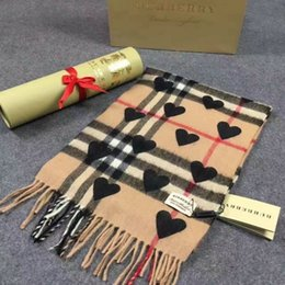Wholesale Plaid Cashmere Wrap - HOT 100% Cashmere heart long scarf shawl