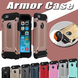 Wholesale Defender Silicone - Steel Armor Case Dual Layer Shockproof Defender Robot Hybrid PC+Silicone Rubber Hard Cover Case For iPhone 7 Plus 6 6S 5S Samsung S8 S7 edge