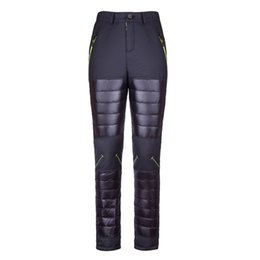 Wholesale Women Winter Down Pants - Wholesale- 2016 Lightweight Winter Snow Ski Thermal Trousers Outdoor Hiking Snowboard Duck Down Pants Women Windbreaker Pantalon Femme
