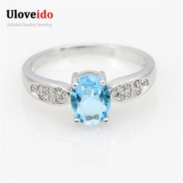 Wholesale Cheap White Sapphire Rings - Uloveido Women Ring Blue Stone Silver Ring Sapphire Ruby Korean Jewelry Souvenirs Cheap Wedding Rings Anillo Ancho Mujer Y3170