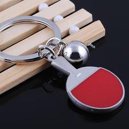Wholesale Table Tennis Bats New - 2016 New Sport style table tennis key chain fashion pingpong ball bat keyring best gift for sportsman key holder car key pendant