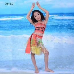 Wholesale Suits Teenager - Moana Summer Teenager Girl Set Clothes Fashion Costume Children Boutique Outfits Kid Vest+Belt+Skirt Dress 3PCS Suit Clothing