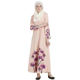 Wholesale Print Kaftan - Long Sleeve Evening Dress Dubai Arabic Kaftan Gown robe de soiree Muslim Dress Pink Abaya Printed Long Style National Dress