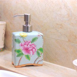 Wholesale Ceramic Lotion Bottles - 500ml Chinese Hand Painted Flowers Ceramic Customed LOGO Pottery Lotion Bottle Soap Dispenser Wedding Chrismas gift sanitizer Hotel Bathroom