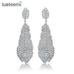 Wholesale Luxury Feather Earrings - LUOTEEMI New Luxury Statement Micro Cubic Zircon Big Long Feather Drop Earrings Wedding Bijoux Bridal Brincos Jewelry for Women