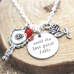 Wholesale Wholesale Beauty Beast - 12pcs lot Beauty and the Beast Necklace Belle Until the last petal falls Inspired Rosecharm necklace Neckace silver tone