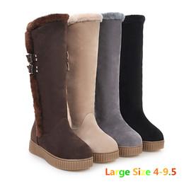 Wholesale Sheepskin Knee Warmers - New Fashion Women Boots Winter Waterproof Mid-Calf Snow Boots Rabbit Fur Warm Buckle Snow Boots Size 4-9.5