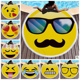 Wholesale Wholesale Children Mats - 13 Styles 150*150cm Microfiber Emoji Tassel Beach Towel Round Large Smile Face Beach Blanket Shawl Yoga Mat Swimming Cover CCA7361 10pcs
