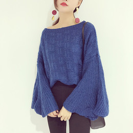 Wholesale Horn Products - Autumn And Winter 2017 Korean New Product Solid Color Easy Joker Knitting Unlined Upper Garment Horn One Word Lead Sleeve Head Sweate horse