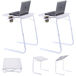 Wholesale Laptop Adjustable Table - 2 x Table Adjustable PC TV Laptop Desk Tray Home Office W  Cup Holder White