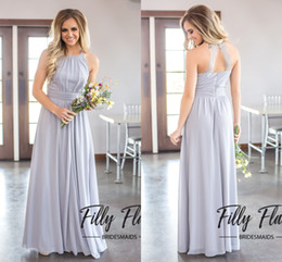 Wholesale White Casual Bridesmaid Dresses - Country Style 2017 Newest A Line Chiffon Bridesmaid Dresses For Weddings Cheap Jewel Backless Casual Maid Of Honor Gowns Wedding Guest Dress