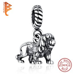 Wholesale Lion Heart - BELAWANG New 925 Sterling Silver The Lion Shape Pendant Big Hole Charm Beads Fit Pandora Original Charm Bracelet&Necklaces Women Accessories