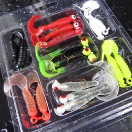 Wholesale Soft Worms Grubs - Hot Sale 17pcs set Fishing Lure Lead Jig Head Hook Grub Worm Soft Baits Shads Silicone Fishing Tackle Free Shipping