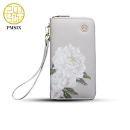 Wholesale Cattle Brands - Wholesale- 2017 Pmsix Floral Printing Chinese Style Cattle Split Leather Wallet Long Zip Wristlet Bag Brand Design Casual Purse 420042