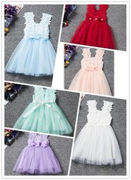 Wholesale Tulle Slip Skirt - Baby Girl Pierced Lace Dress Suspender Petals Net Yarn Princess Bubble Skirts Bowknot Slip Dress Latest Design Knee Length