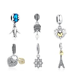 Wholesale Solid Sterling Charm Bracelet - BELAWANG Wholesale Solid 925 Sterling Silver Heart Charm Pendant Crystal Wing Snowflake Beads Fit Charm Necklaces&Bracelets DIY Jewelry