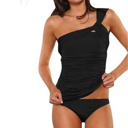 Wholesale Red Tankini Swimsuits - One shoulder black Plus size tankini Large size bathing suit two pieces swimsuit swimwear women beachwear biquini