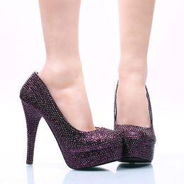 Boda morado oscuro zapatos online-Dark Purple Rhinestone Wedding Party Shoes Size 42 43 and 44 Super High Heel Stiletto Heel Bridal Dress Shoes Party Prom Pumps