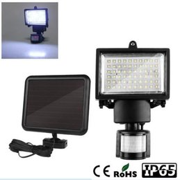 Wholesale Outdoor Led Motion Flood Lights - free ship led Solar 60 LEDS LED Flood Light Lamp With PIR Motion Sensor Outdoor Garden light Spotlights Cool White Emergency Floodlights