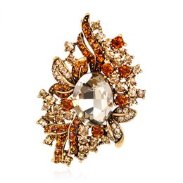 Wholesale Patterned Flower Girl Dresses - Retro Style Fashionable High End Flower Pattern Crystal Brooch for Dress and Formal Suit for Women and Girls by Hcish Jewelry AC010